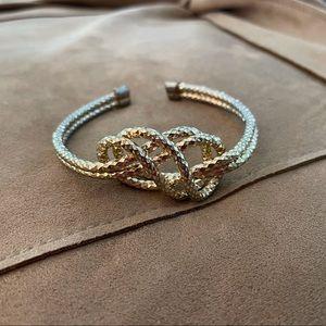 Vintage Gold Toned Faceted Knot Bracelet Cuff